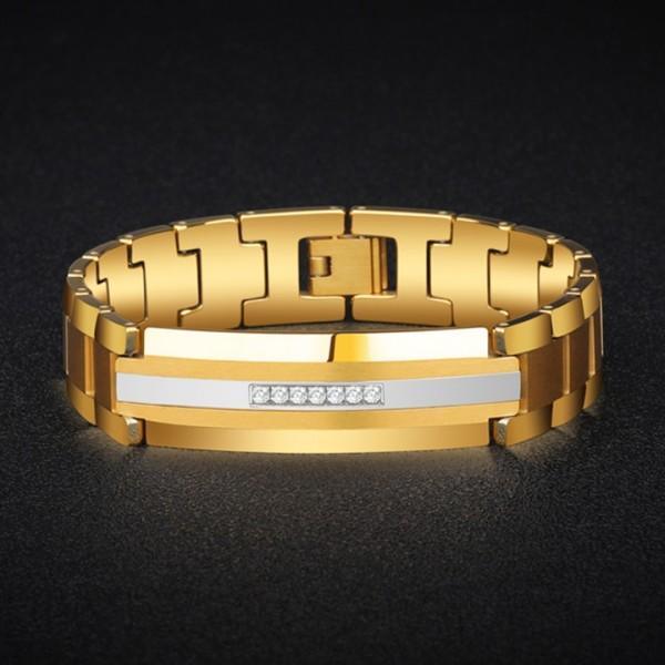 Unique Strap Bracelet For Men In Tungsten And Cubic Zirconia