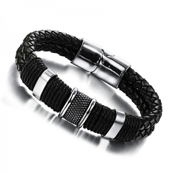 Unique Belt Bracelet For Men In Leather And Titanium