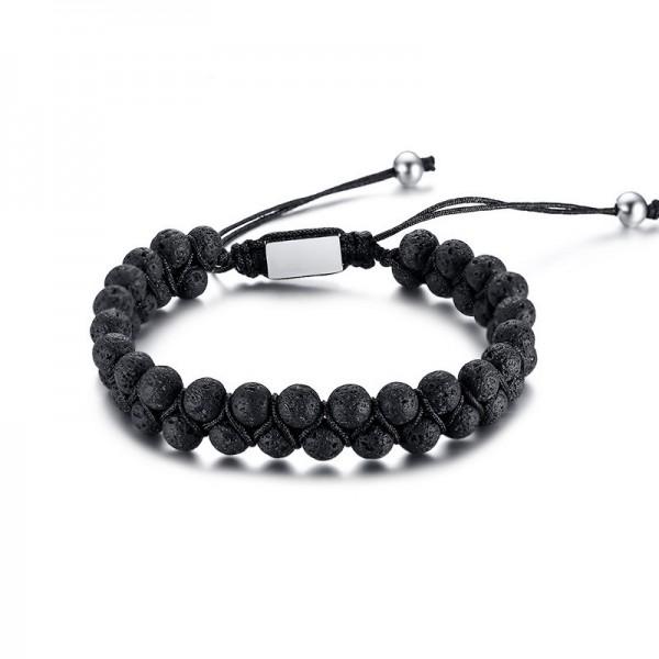 Adjustable Black Lava Stone Beaded Bracelet For Men