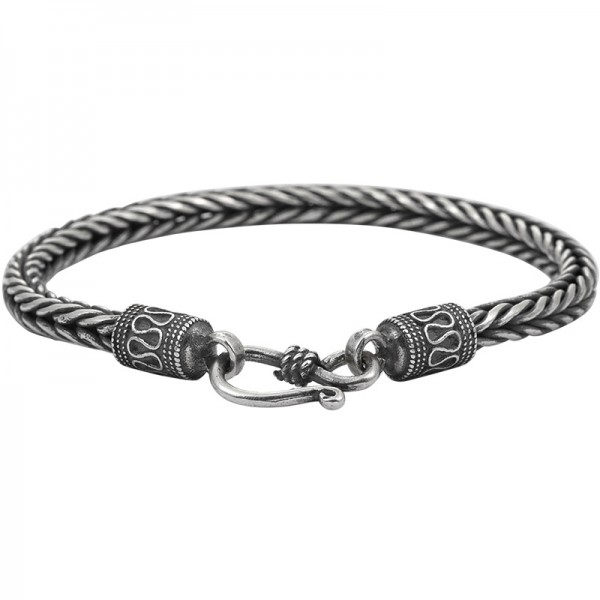 Distressed Foxtail Chain Bracelet For Men In Sterling Silver