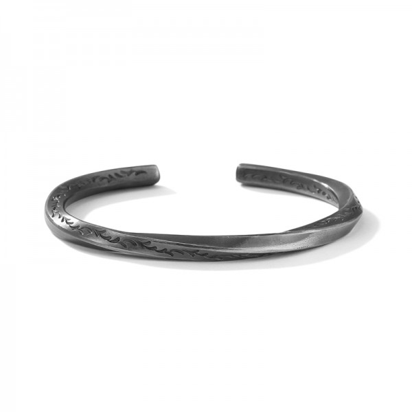Unique Black Mobius Bangle Bracelet For Men In Sterling Silver