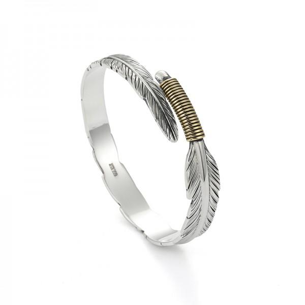 Engravable Feather Bangle Bracelet For Men In Sterling Silver
