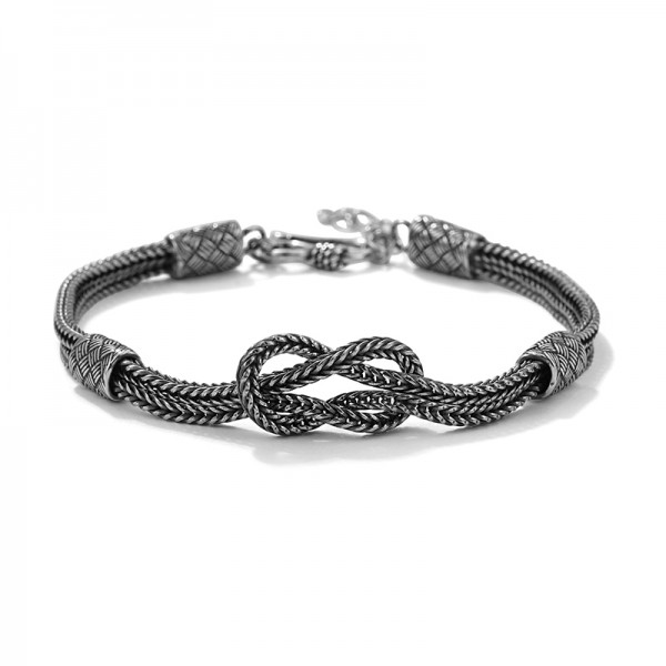 Unique Infinity Knot Double Chain Bracelet For Men In Sterling Silver