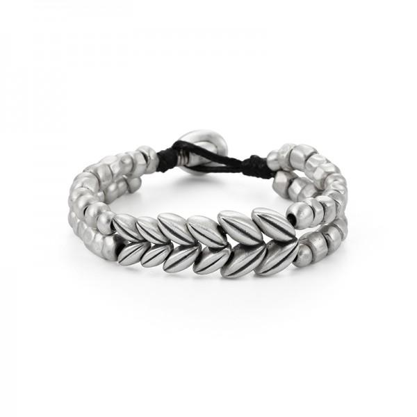 Unique Wheat Ear Bracelet For Men In Sterling Silver