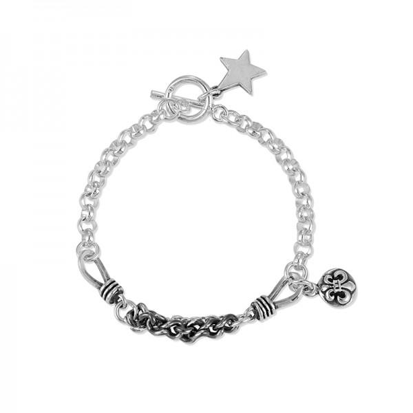Engravable Distressed Chain Bracelet For Men In Sterling Silver