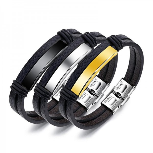 Engravable Simple Double Strand Leather Belt Bracelet For Men