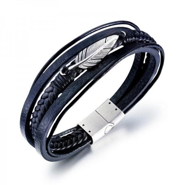 Unique Feather Charm Three Strand Leather Belt Bracelet For Men