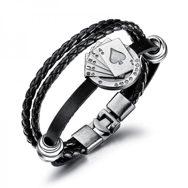 Unique Straight Flush Charm 3 Strand Leather Belt Bracelet For Men