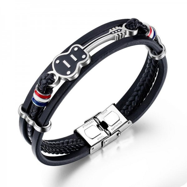 Unique Guitar Charm 3 Strand Leather Belt Bracelet For Men