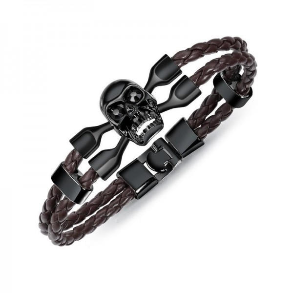 Unique Skull Charm Double Leather Belt Bracelet For Men