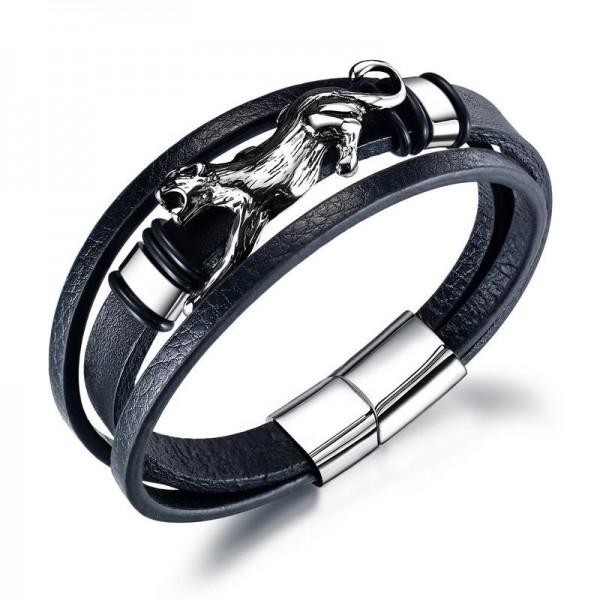 Unique Cheetah Charm 3 Strand Leather Belt Bracelet For Men
