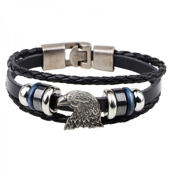 Eagle Charm Leather Belt Bracelet For Men