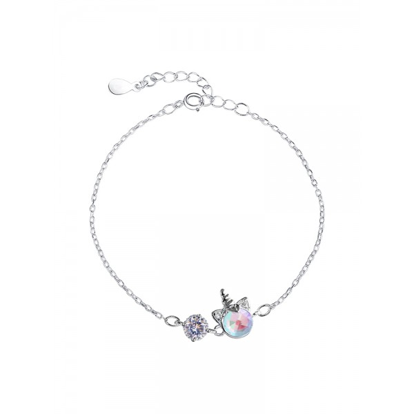 Cute Unicorn Charm Bracelet For Womens In Sterling Silver