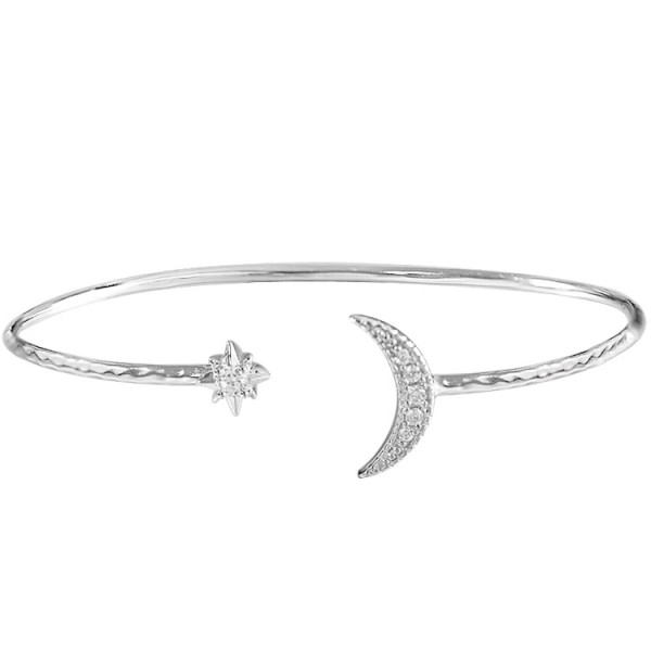 Unique Sun And Moon Bangle Bracelet For Womens In Sterling Silver