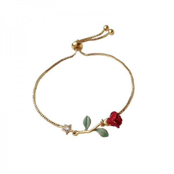 Unique Hand Painted Rose Bracelet For Womens