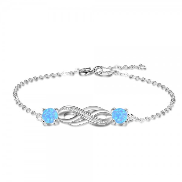 Unique Knot Charm Opal Bracelet For Womens In Sterling Silver