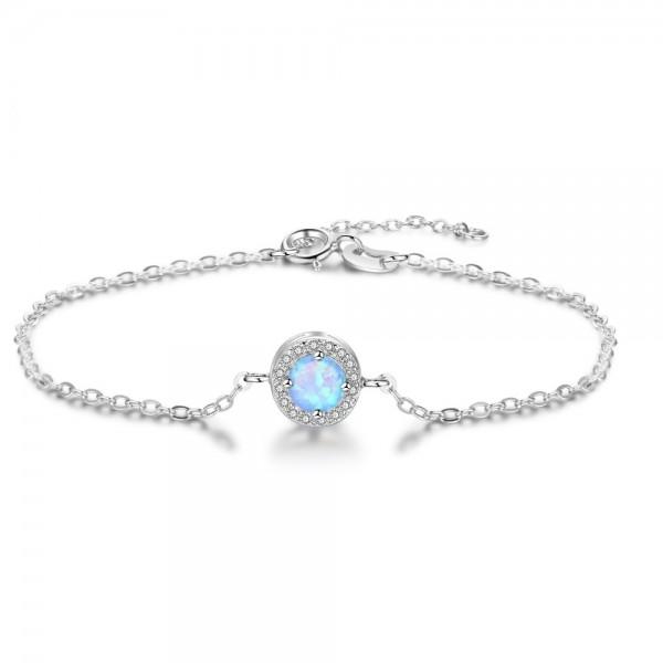 Simple Opal Charm Bracelet For Womens In 925 Sterling Silver