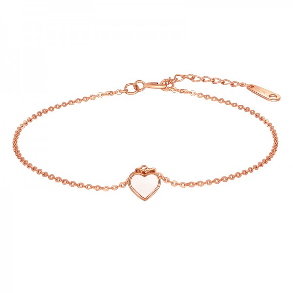 Unique Rose Heart Charm Bracelet For Women In 18K Gold