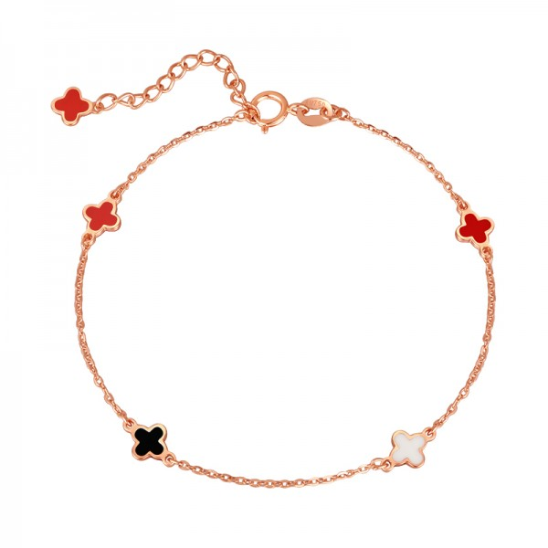 Four Leaf Clover Charm Bracelet For Womens In 18K Gold