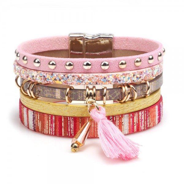 Cute 5 Strand Leather Bracelet For Women