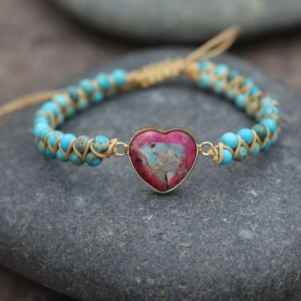 Unique Heart Charm Double Strand Beaded Bracelet For Women