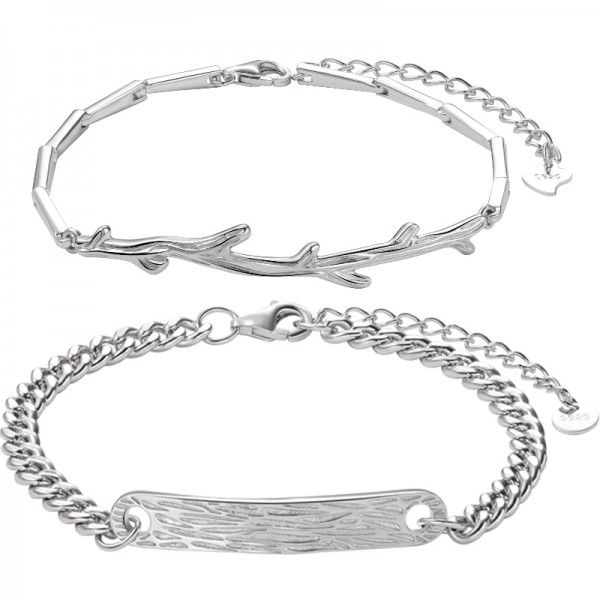 Unique Tree And Branches Matching Bracelets For Couples In Sterling Silver