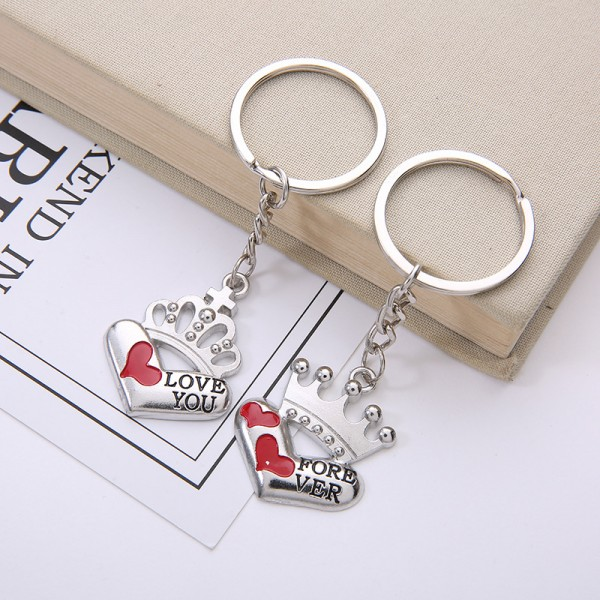 Love You Forever Crown Matching Couple Keychains In Zinc Alloy