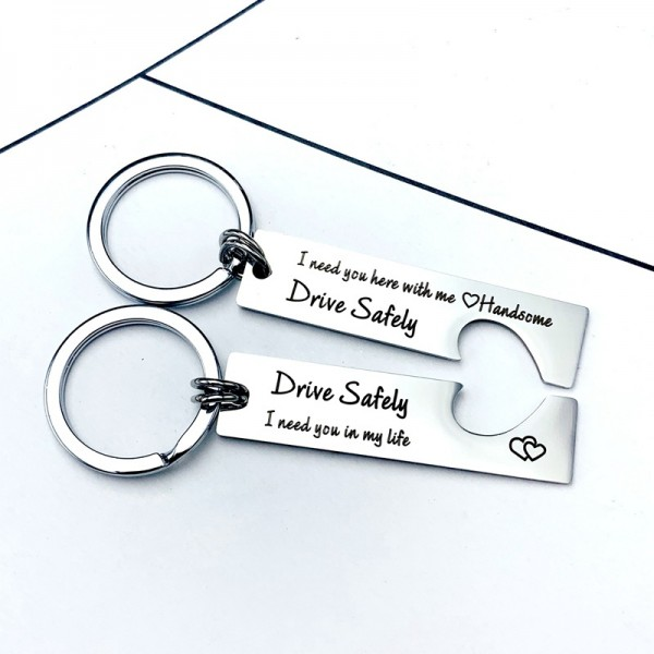 Drive Safely Matching Heart Couple Keychains In Stainless Steel