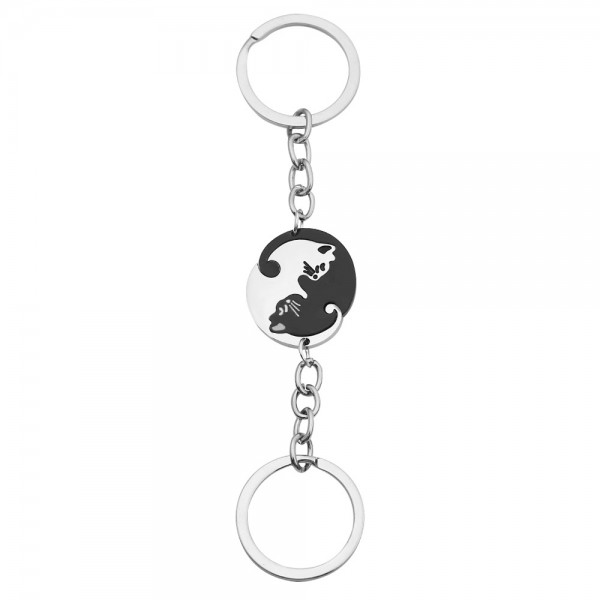 Matching Cat Keychains For Couples In Stainless Steel
