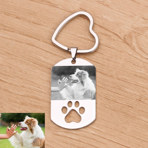 Pet Photo Engraved Keychain In Stainless Steel