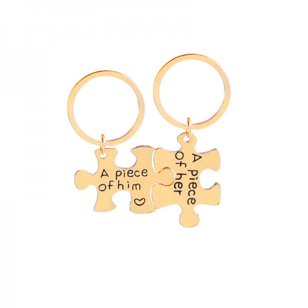 Jigsaw Puzzle Shape Matching Couple Keychains In Zinc Alloy
