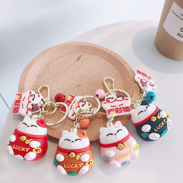 Cute Silicone Lucky Cat Keychains For Couples