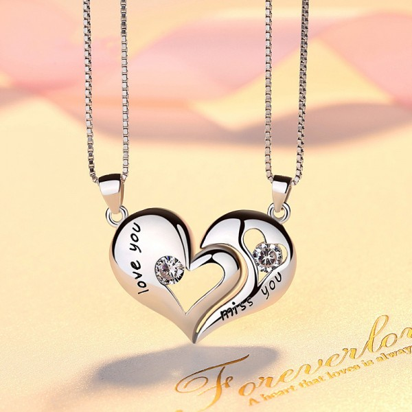 Personalized Love you And Miss You Necklace For Couples In 925 Sterling Silver