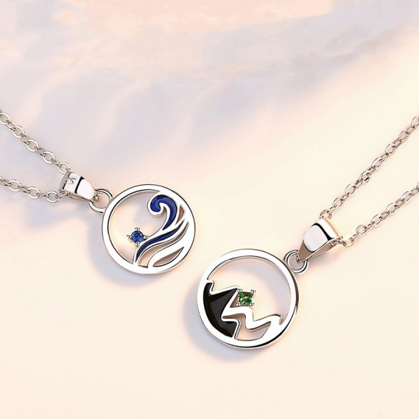 Personalized White Love Ring Necklace For Couples In 925 Sterling Silver