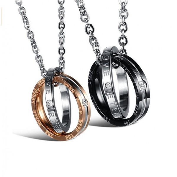 Personalized Black And Rose Double Ring Couple Necklace In Titanium