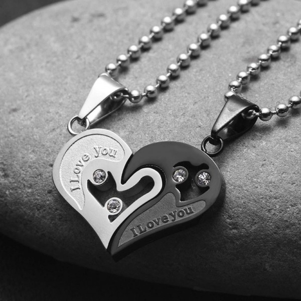I Love You Matching Heart Necklaces For Couples In Titanium Multiple Colors Available