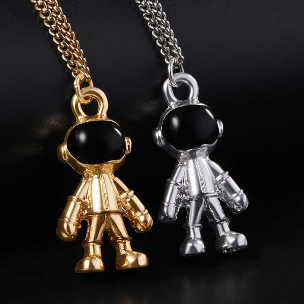Engravable Robot Astronaut Couple Necklace In 925 Sterling Silver