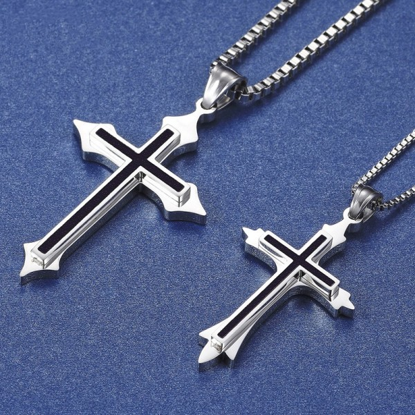 Engravable Cross Couple Necklace In Titanium Black And White Optional