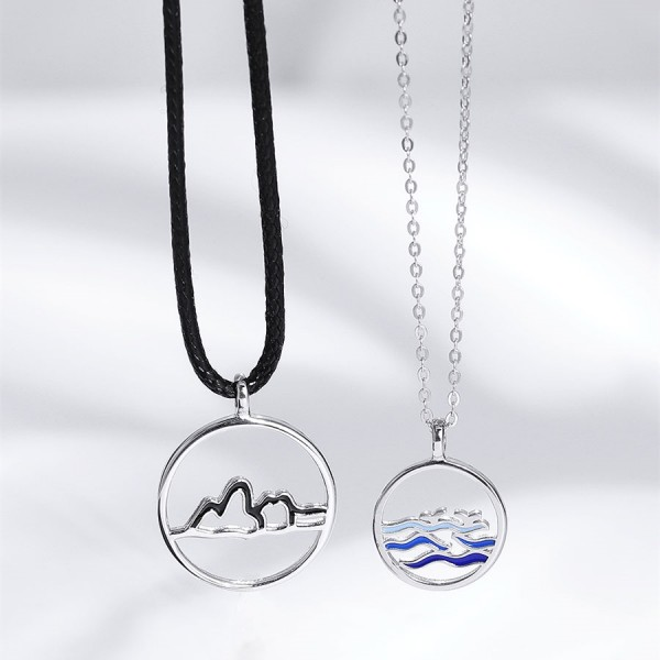 Personalized Mountain And Ocean Necklace For Couples In Sterling Silver