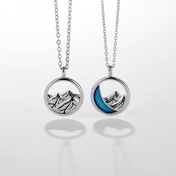 Engravable Mountain Of Love Necklace For Couples In Sterling Silver