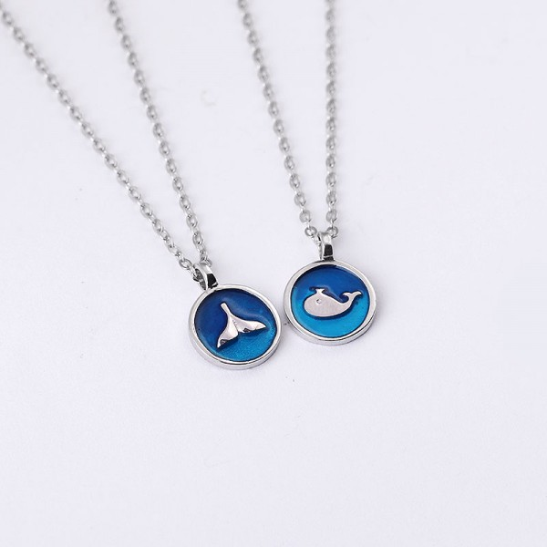 Engravable Cute Whale Couple Necklace In Sterling Silver
