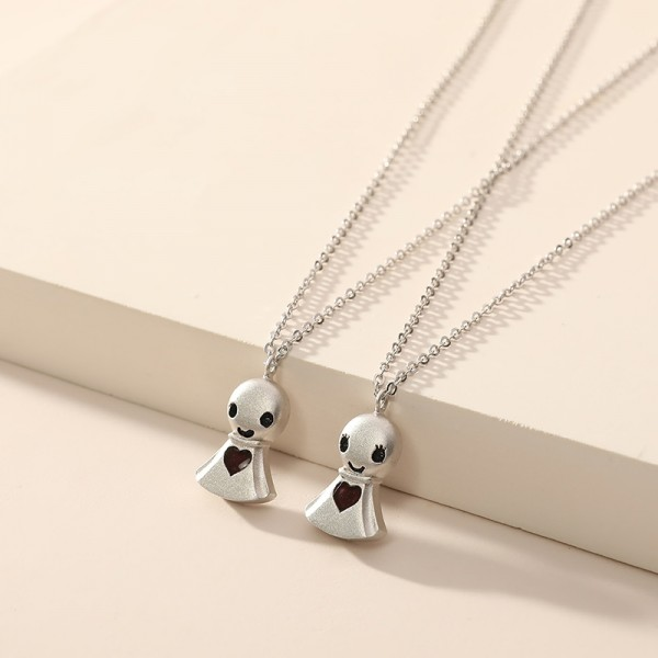 Engravable Variable Red Teru Teru Bozu Couple Necklace In Sterling Silver
