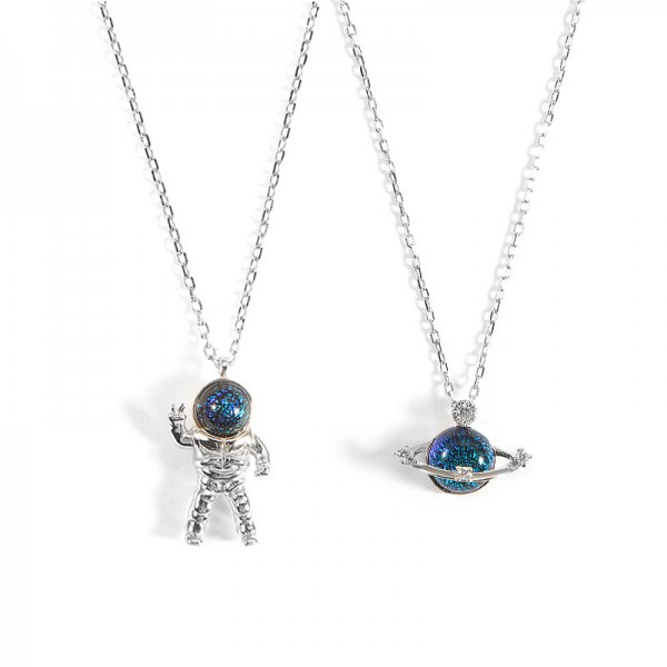 Personalized Astronaut And Planet Necklace For Couples In Sterling Silver