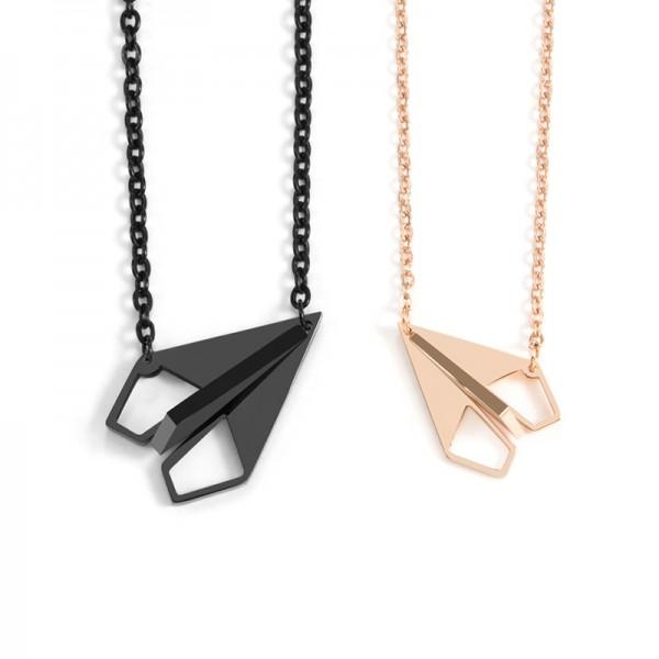 Cute Black And Rose Couple Paper Plane Necklace In Titanium