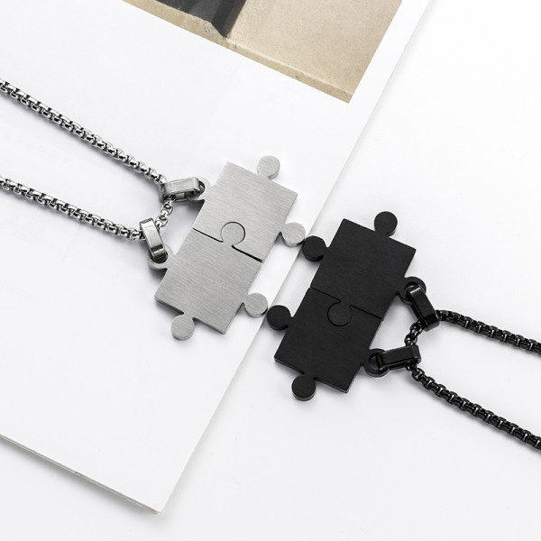 Cute Black And Silver Couple Jigsaw Puzzle Necklace In Titanium