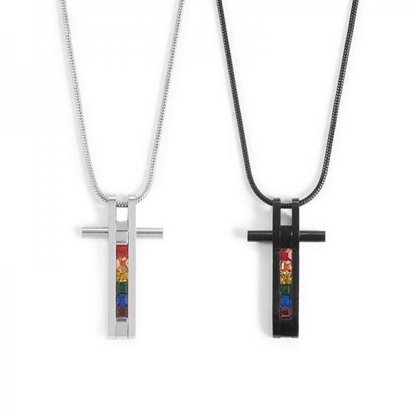 Cute Rainbow Cross Necklace For Couples In Titanium