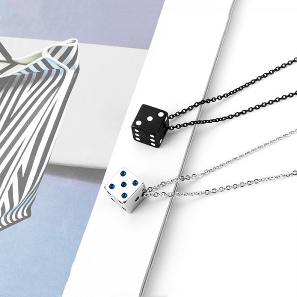 Cute Dice Necklace For Couples In Titanium