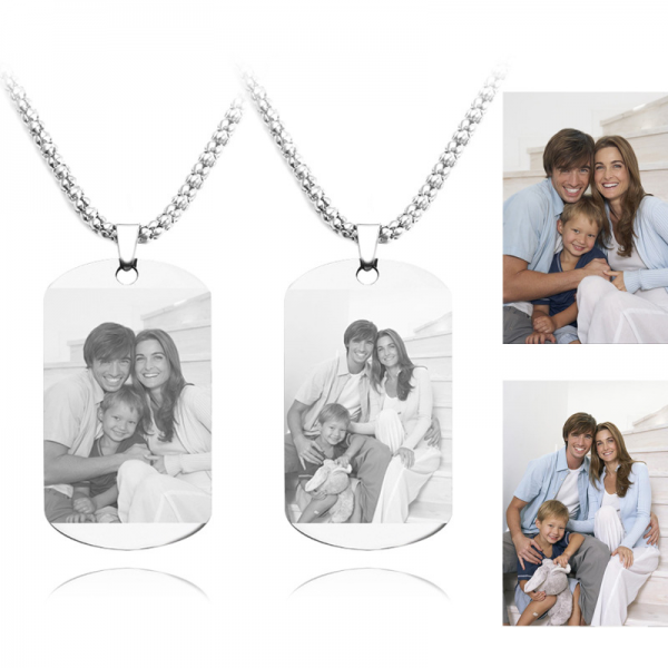 Personalized Photo Engraved Pendant Necklace In Stainless Steel