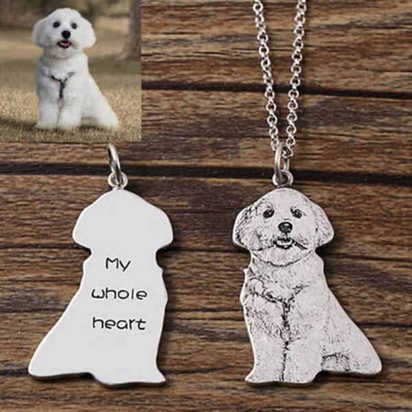 Personalized Sterling Silver Custom Pet Photo Engraved Necklace