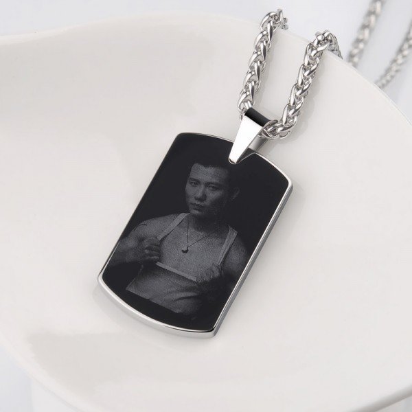 Personalized Unisex Tungsten Custom Photo Engraved Necklace